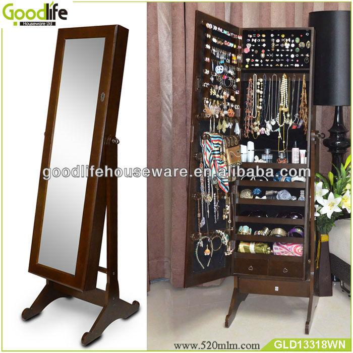 Espejo de pie de china con el almacenamiento de la joyer a for Espejos de pie de madera
