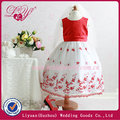2014 fashional y hermoso vestidos de niña de las flores blancas y rojas