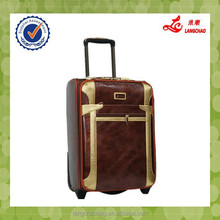 Popular Brown PU Material Comfortable Handle Rotatable Wheel Stock China Trolley Luggage