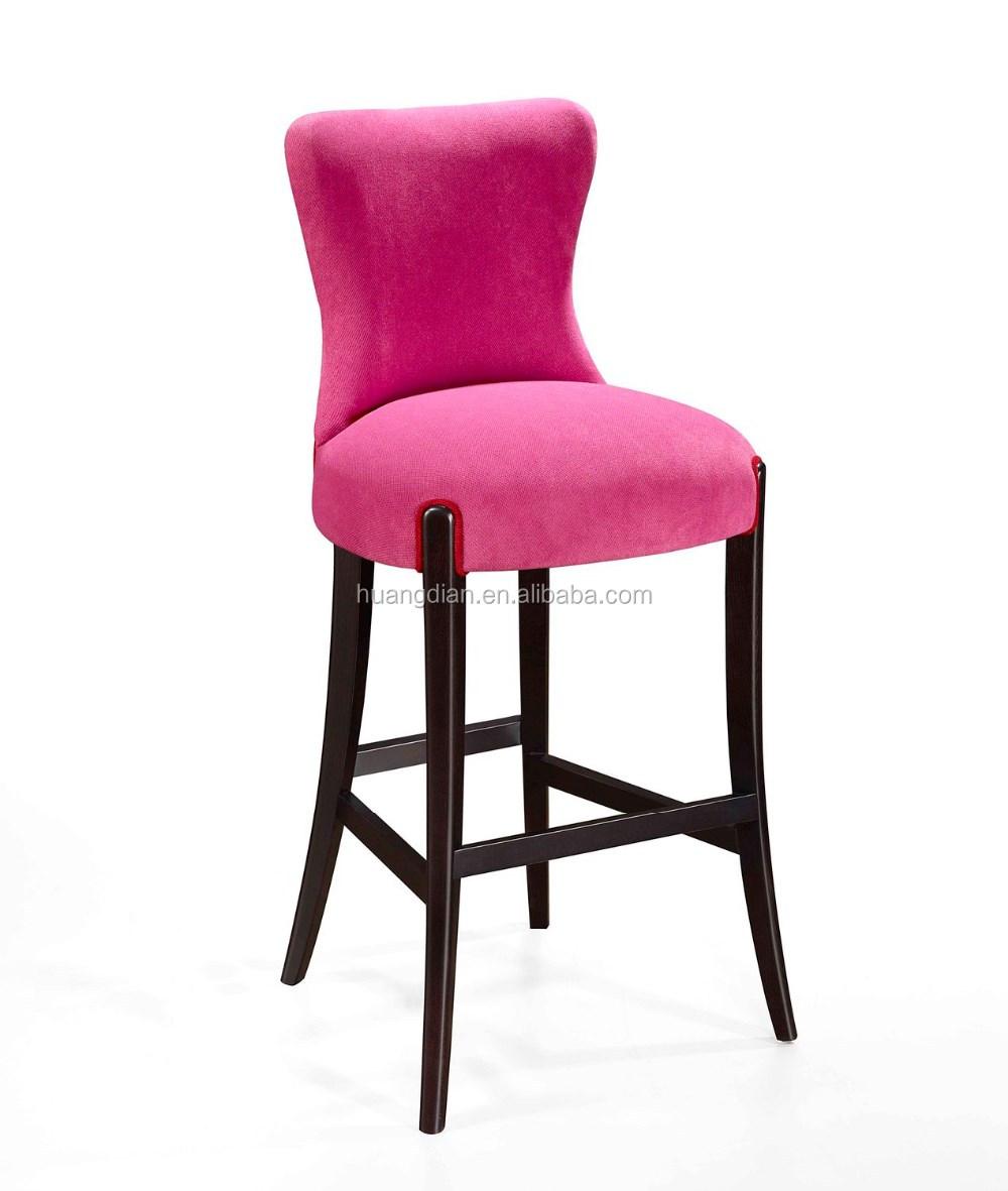 Pink Velvet Fabric High Becca Chair Wooden Bar Stool Or