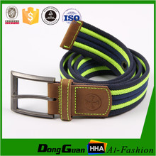 A li express customs men canvas belt with leather tag