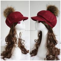 Women Solid Red Winter Vintage Beanie Skull Ski Raccoon Fur Pom Pom Warm Hat Ivy Cap