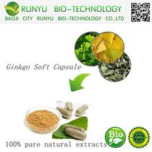 GMP factory sales Natural ginkgo soft capsule Ginkgo Biloba Extract Powder HPLC CAS: 90045-36-6