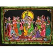"Lord Krishna & Radha Indian Gods Sequin Sitara Batik Cotton Wall Tapestry 40"" X 30"""