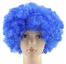 Hot selling light blue football fan wigs for France carnival wig for world cup W5010