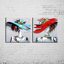 Beautiful Design Handmade Two Pictures Blue And Red Hat With Modern Lady Oil Painting On Canvas For Wall Decoration