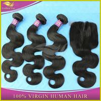Wholesale high quality 100% virgin brazilian hair closure with hair bundles