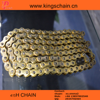 Chinese Golden color copper plated 415H 120L motorcycle chain