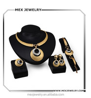 Italian gold plated jewelry sets necklace earrings bracelet ring sets for wedding