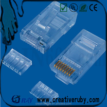 high quality two - piece double row cat 6 utp 8p8c male rj45 connector