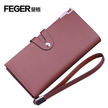 New Released Genuine Leather Men's Long Wallet with Hasp Clutch bag with Card Holder