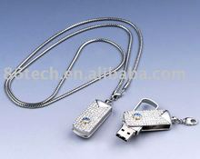 Swivel Diamond USB flash drive, fashion jewelry USB flash drive