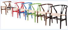 Hot sale modern colorful wooden dining chair for home furniture , hans wegner wishbone chair with straw seat