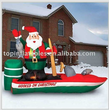 Top sale inflatable Christmas train with Santa clause
