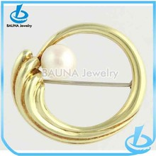 Akoya Pearl Brooch Pin - 14k Yellow Gold Vintage 6.9mm Genuine Swirl Womens