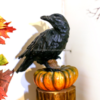 Factory Direct Wholesale Cheap Resin Crow Pumpkin Halloween Craft