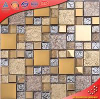 HTJ19 Turkish Enjoying Type Glass Mix Stainless Steel Mosaic, Golden Glass Mosaic