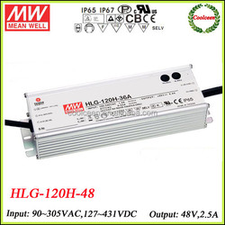 Meanwell led light driver dimmable HLG-120H-48