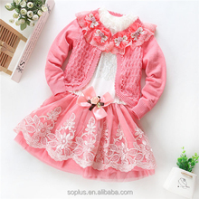 SFK1508217 Kids Clothes Baby Girls Clothing Sets 3 Pieces Suit Girls Pink Coat + Tutu Skirt Girls Clothes Wholesale New 2015