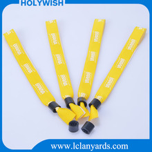 Wholesale bracelets woven wristbands with plastic lock for promotion gift