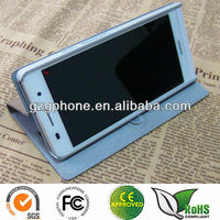 Stand leather flip case for Huawei ascend P6