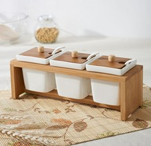 Set of 3 White Ceramic Condiment Pots / Spice Serving Jars with Bamboo Lid and Stand