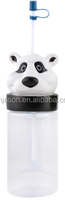 wholesale 3D animal shape lid plastic bottle with straw kids cartoon cup for children