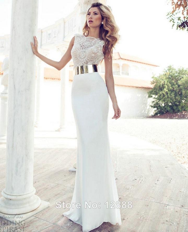 Pearl White Prom Dresses High Neck White Prom Dress