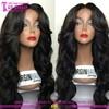 2015 Wholesale cheap 100% virgin black women brazilian human hair lace front wigs with bangs