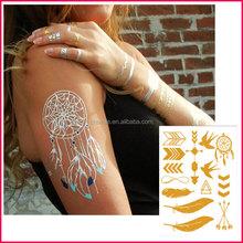 Hot selling fashion products 2015 custom body art metallic tattoos jewelry temporary dreamcatcher tattoo sticker