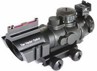 Tactical Vector Optics 4x32 Compact Rifle Scope Fiber Gun Sight 3-Colour Illuminated Reticle