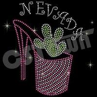 Crystal High heels iron on transfer cactus rhinestone designs
