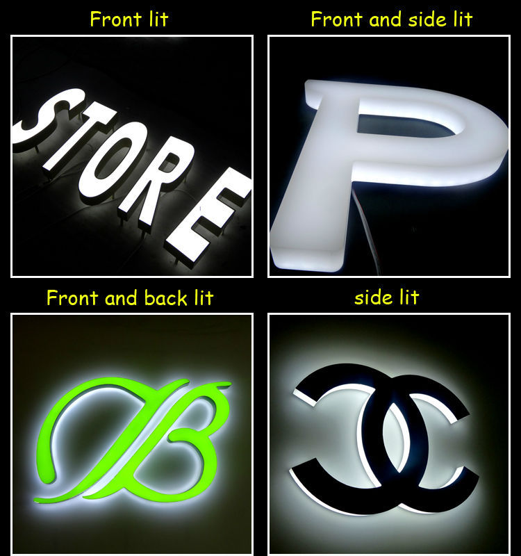 outdoor white backlit and front-lit LED epoxy resin letter signs