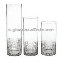 Tall Crackle Clear Glass Vase Cylinder