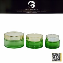 15 30g 50g different volume green painted glass jar with plastic lid