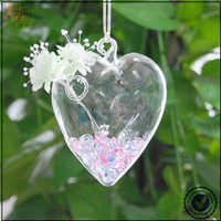 LOVE heart clear glass hanging vases