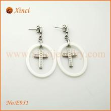 Economic cheap china zircon dangle earrings, cross chain dangle earring