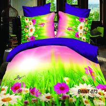 Fancy design hot sale flower printed bed sheet 3d