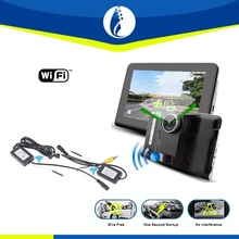 wire free wifi wireless car dvr 7 inch Monitor No interference GPS navigation car black box with Rear View System