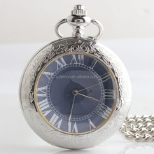 Customized Mens/Women's Roman Numerals Skeleton Hand winding Mechanical Pocket Watch Chain