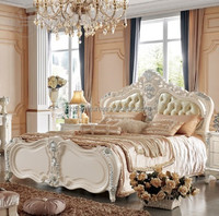 French style home furniture solid wood double bed (803)