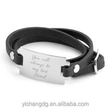 Custom Leather Bracelet,Unisex Handmade Black Wrap Genuine Leather Bracelet with Engraving Plate