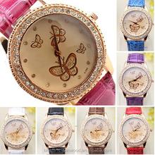 7 colors Women's Faux Leather Rhinestones Golden Tone Butterflies Quartz Dress Watch