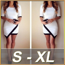 2015 Elegant sexy medium sleeve black and white women's ladies clothing fashion one piece dress