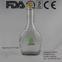 500ml clear round shape custom glass liquor bottle