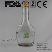 500ml clear round shape custom glass liquor bottle