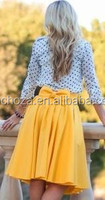 Z59562A Low price fashion ladies skirts with bow ,high waist medium length women skirts