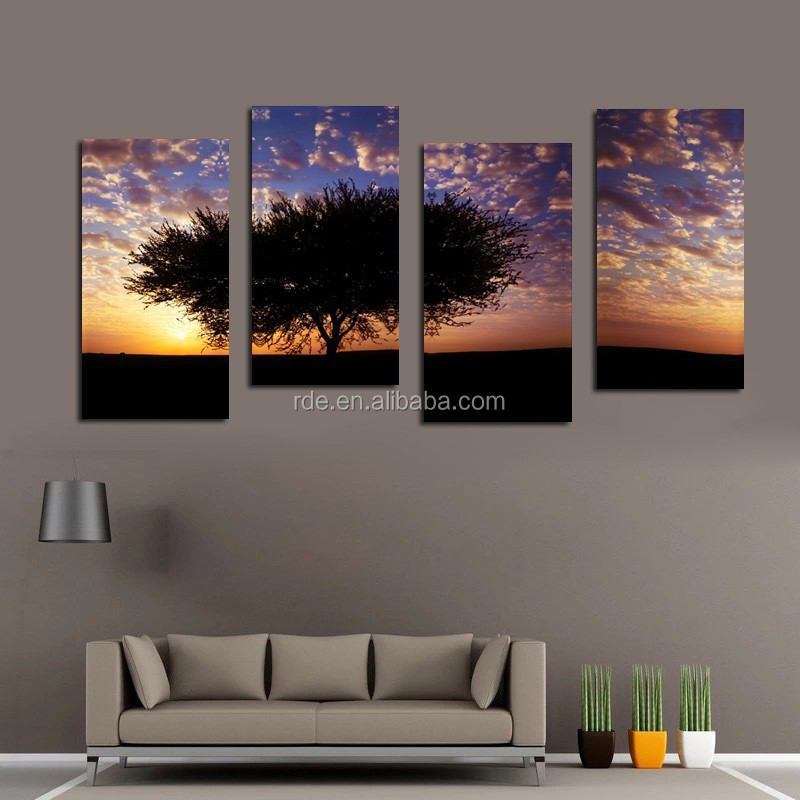 Cheap hd landscape 4 panels wall art canvas prints buy for Buy cheap canvas art