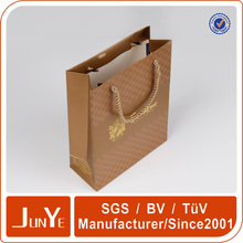 cotton handle gold paper shopping bag for t-shirt