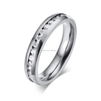 CNC Jewelry Machine Stainless Steel Wedding Ring with CZ Stone Wholesale